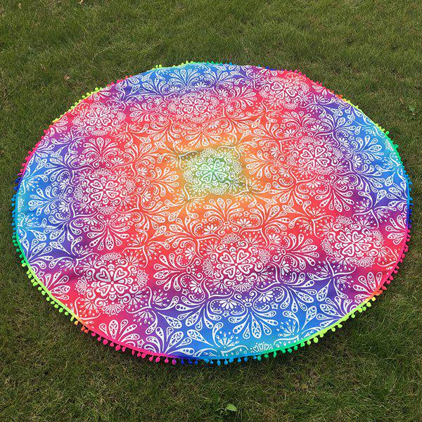 Colorful Ombre Retro Imprimé Petit Pompon Plage Round Throw