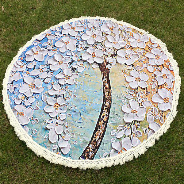 New Flowered Tree Oil Painting Round Beach Throw with Tassel