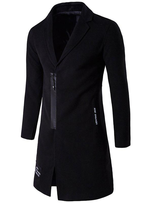 Outfit Patch Design Zip Up Wool Blend Coat