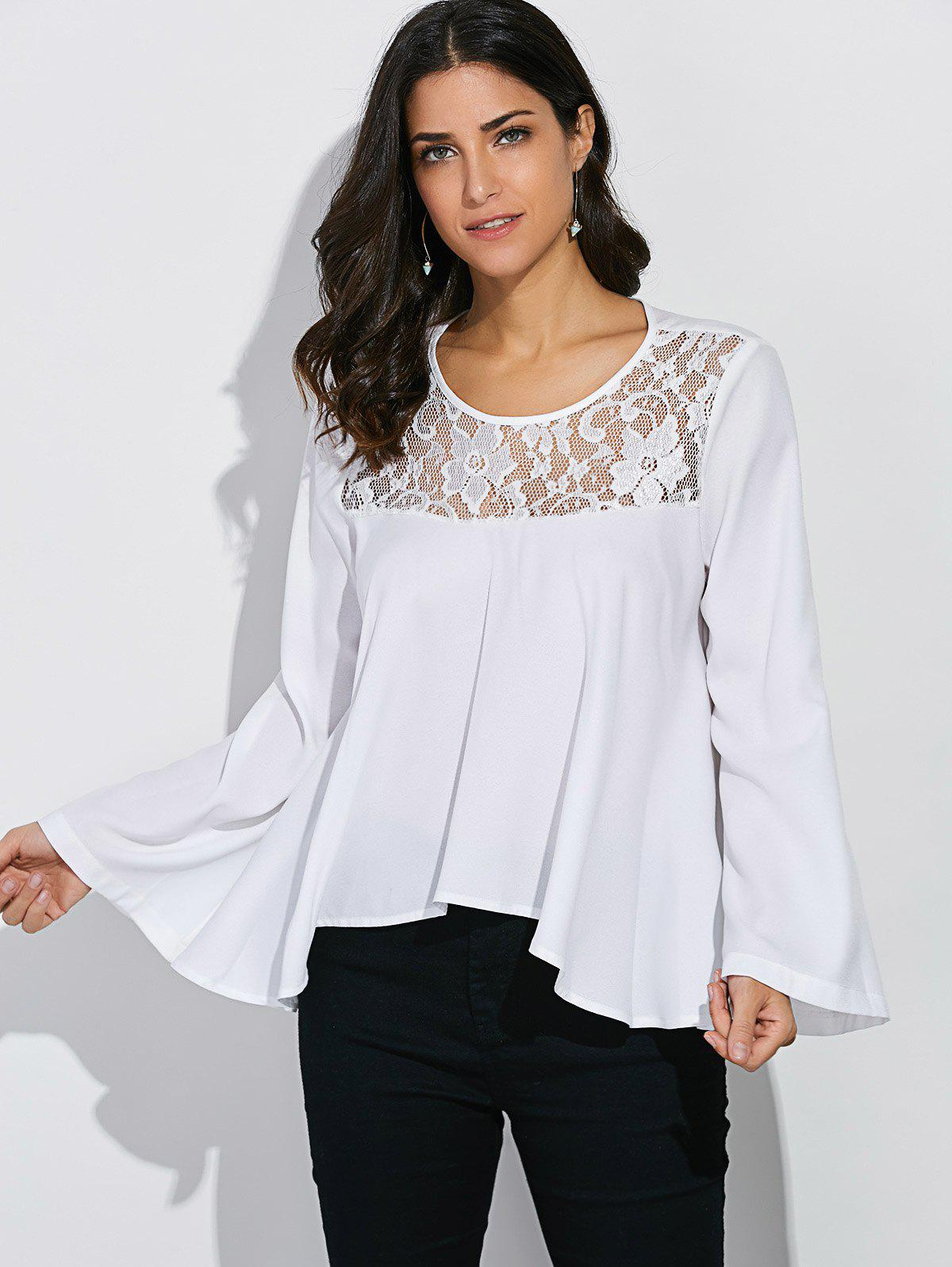 Fancy Lace Panel Bell Sleeve Blouse