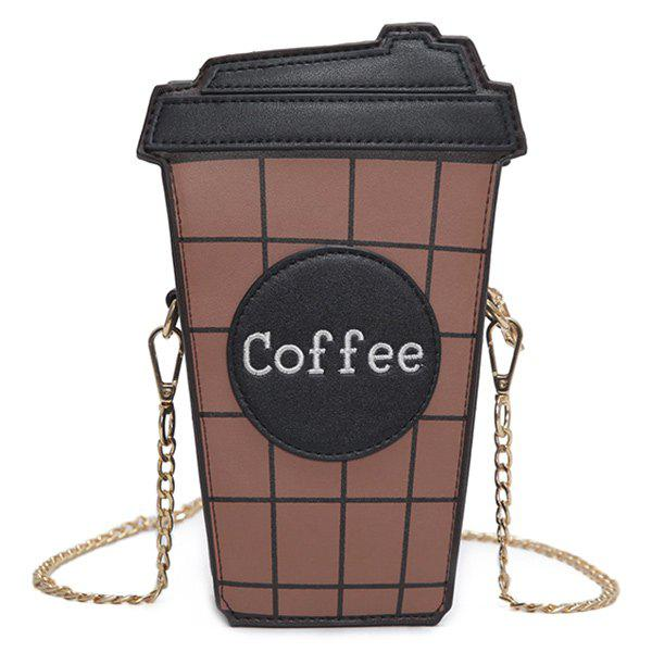 Coffee Cup Plaid Crossbody BagSHOES &amp; BAGS<br><br>Color: BLACK; Handbag Type: Crossbody bag; Style: Fashion; Gender: For Women; Pattern Type: Plaid; Handbag Size: Small(20-30cm); Closure Type: Zipper; Occasion: Versatile; Main Material: PU; Weight: 0.3560kg; Size(CM)(L*W*H): 15*6.5*21.5; Strap Length: 120CM; Package Contents: 1 x Crossbody Bag;