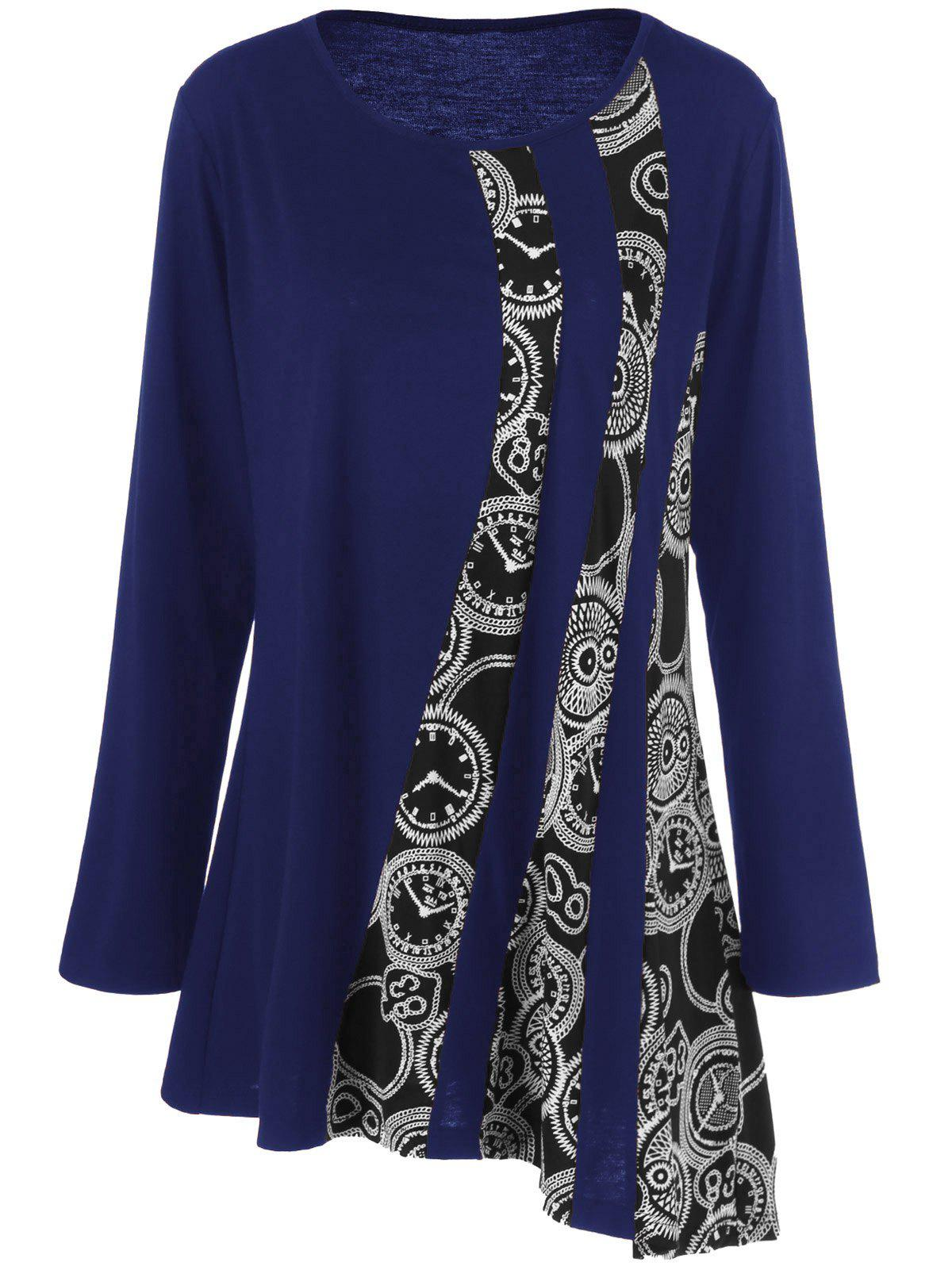 Plus Size Printed Asymmetric Tunic T-ShirtWOMEN<br><br>Size: 5XL; Color: BLUE; Material: Polyester,Spandex; Shirt Length: Long; Sleeve Length: Full; Collar: Scoop Neck; Style: Fashion; Season: Fall,Spring; Pattern Type: Print; Weight: 0.3200kg; Package Contents: 1 x T-Shirt;