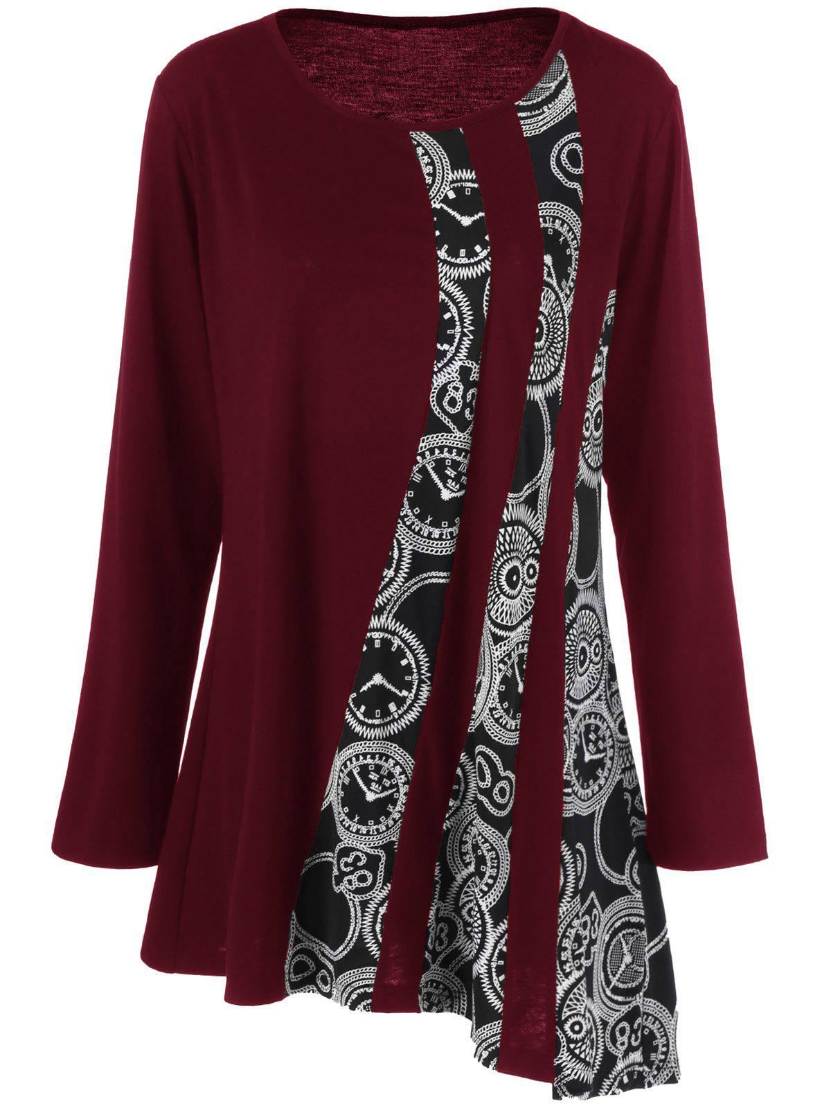 Plus Size Printed Asymmetric Tunic T-ShirtWOMEN<br><br>Size: 4XL; Color: DEEP RED; Material: Polyester,Spandex; Shirt Length: Long; Sleeve Length: Full; Collar: Scoop Neck; Style: Fashion; Season: Fall,Spring; Pattern Type: Print; Weight: 0.3200kg; Package Contents: 1 x T-Shirt;