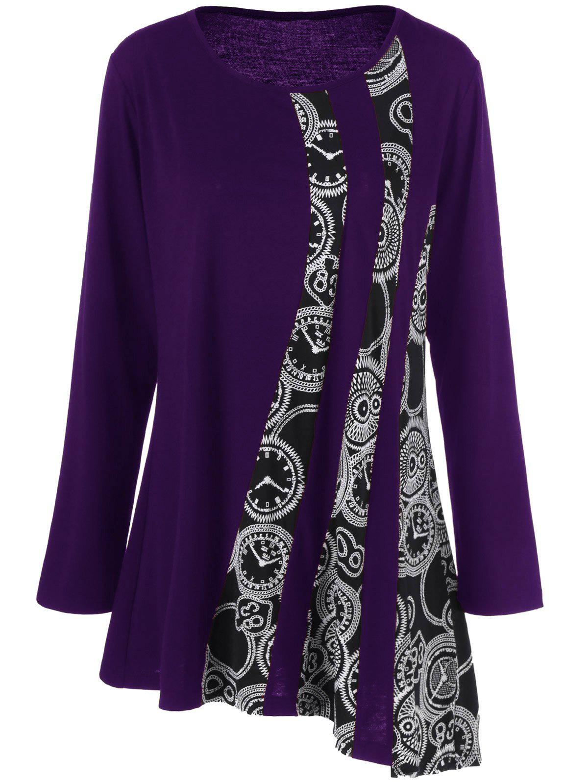 Plus Size Printed Asymmetric Tunic T-ShirtWOMEN<br><br>Size: 2XL; Color: PURPLE; Material: Polyester,Spandex; Shirt Length: Long; Sleeve Length: Full; Collar: Scoop Neck; Style: Fashion; Season: Fall,Spring; Pattern Type: Print; Weight: 0.3200kg; Package Contents: 1 x T-Shirt;