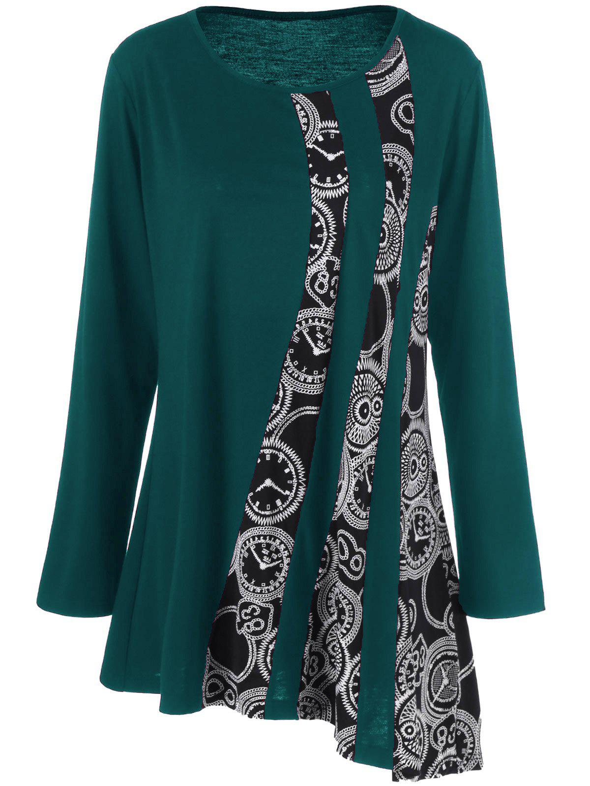 Plus Size Printed Asymmetric Tunic T-ShirtWOMEN<br><br>Size: 5XL; Color: BLACKISH GREEN; Material: Polyester,Spandex; Shirt Length: Long; Sleeve Length: Full; Collar: Scoop Neck; Style: Fashion; Season: Fall,Spring; Pattern Type: Print; Weight: 0.3200kg; Package Contents: 1 x T-Shirt;