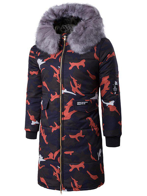 Zip Up Camo Coat rembourré avec Furry capot Rouge XL