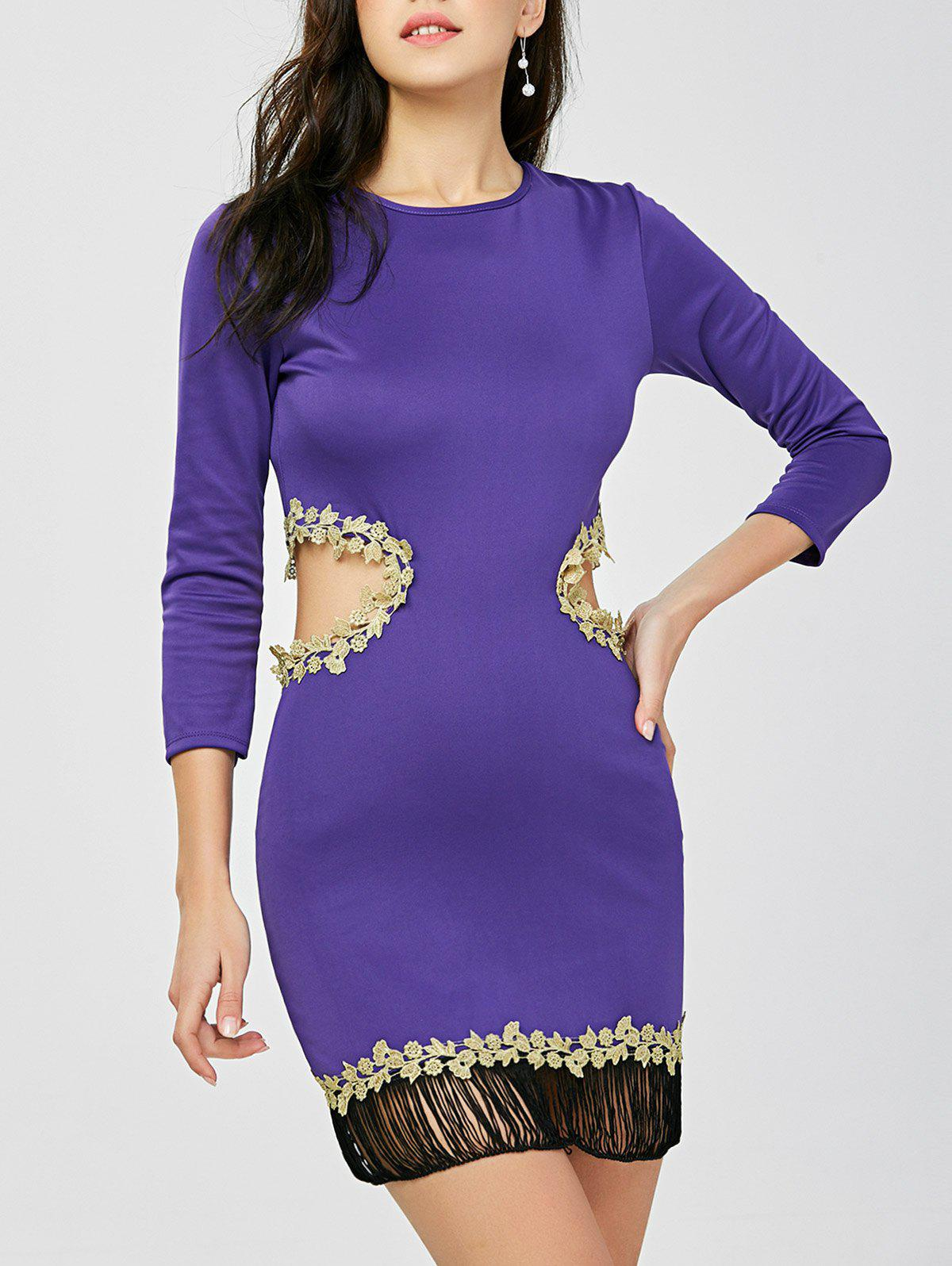 Outfit Fringed Cut Out Applique Tight Bodycon Dress