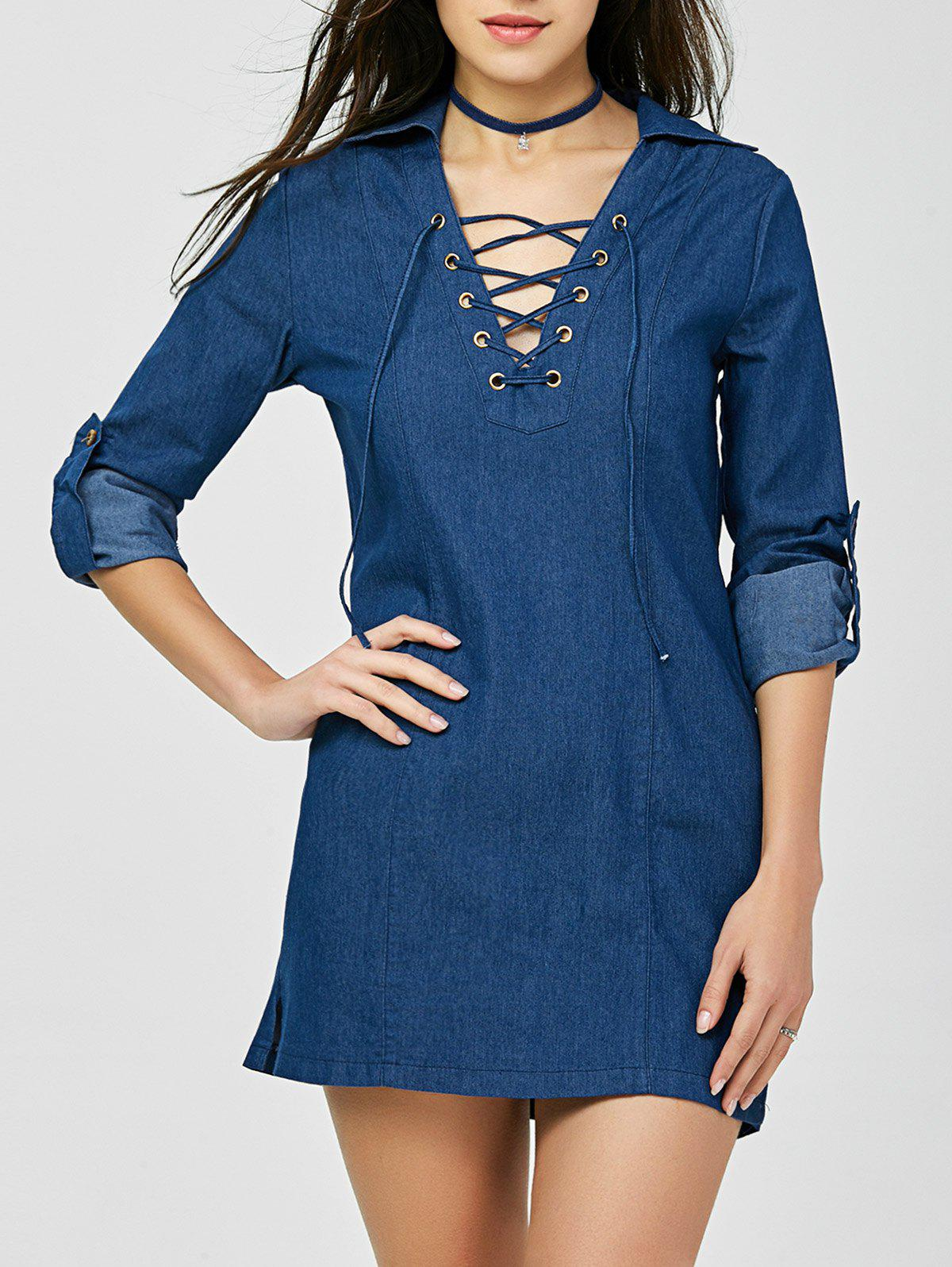 Discount V Neck Mini Lace-up Denim Dress