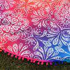 Colorful Ombre Retro Printed Small Pompon Round Beach Throw - COLORFUL ONE SIZE
