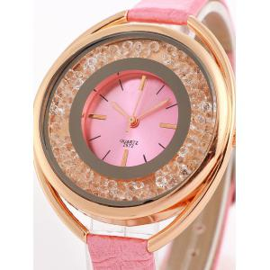 Faux Leather Rhinestone Analog Quartz Watch -
