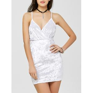 Criss Cross Backless Velvet Short Club Bodycon Dress - White - M