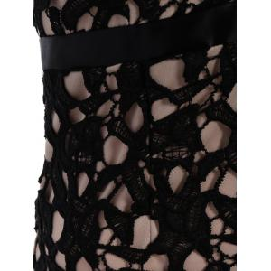 Sleeveless Lace Crochet Fitted Plunge Dress -