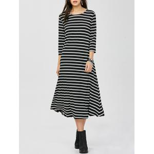 Striped Midi A-Line T Shirt Dress