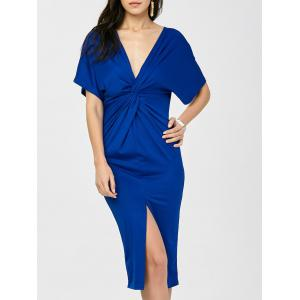 V Neck Twist Slit Sheath Midi Dress