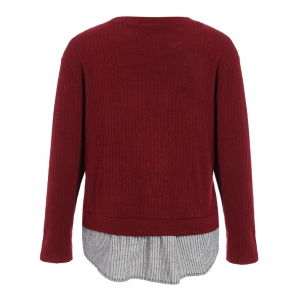 Plus Size Ribbed Striped Panel Sweater -