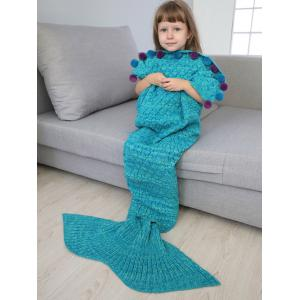 Pom Ball Embellished Crochet Knit Mermaid Blanket Throw For Kids - LAKE BLUE