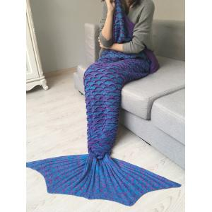 Fish Scale Shape Knitted Mermaid Blanket Throw -