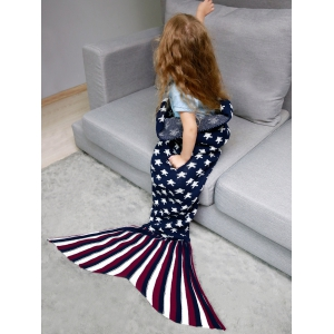 Stars and Stripes Knit Mermaid Blanket Throw For Kids -