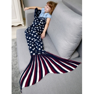 Stars and Stripes Knit Mermaid Blanket Throw For Kids - Bleu Violet