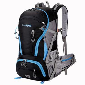 Multi Zips Nylon 45L Mountaineering Backpack - Black