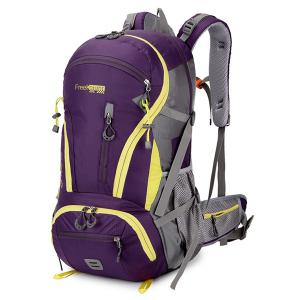 Multi Zips Nylon 45L Mountaineering Backpack - Purple