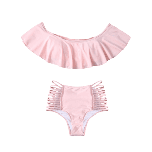 Flounced Off The Shoulder Cutout Bikini Set - PINK M
