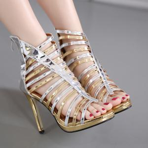 Strappy Patent Leather Zipper Sandals - Silver And Golden - 40