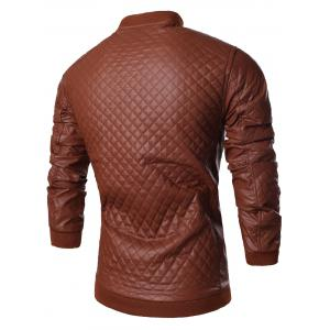 Stand Collar All Over Rhombus PU Jacket -