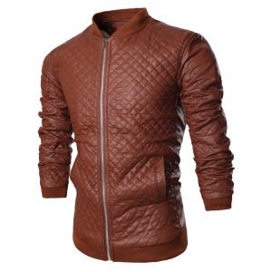 Stand Collar All Over Rhombus PU Jacket
