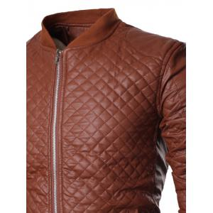 Stand Collar All Over Rhombus PU Jacket - BROWN XL