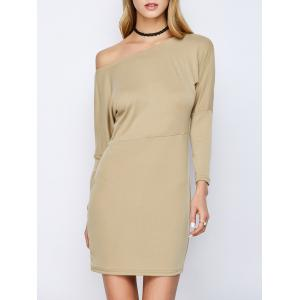 Skew Neck Long Sleeve Cream Mini Dress