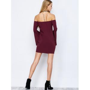 Off-The-Shoulder Bell Sleeve Bardot Bodycon Dress - WINE RED M