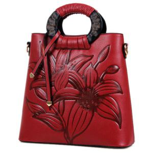 Zip Flower Embossed Tote Bag - Wine Red