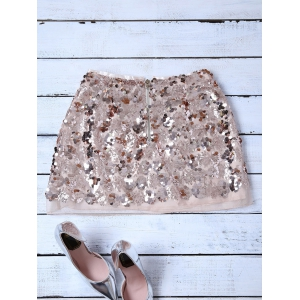 Sequins Mini Skirt - CHAMPAGNE GOLD M