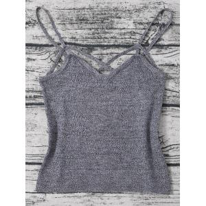 Heathered Knitted Cami Cropped Tank Top - Gray - One Size