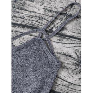 Heathered Knitted Cami Cropped Tank Top - GRAY ONE SIZE
