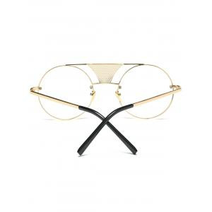 Alloy Openwork Mesh Transparent Lens Round Sunglasses - GOLDEN