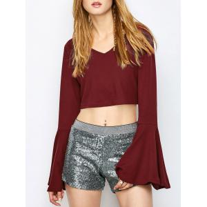 V Neck Flare Sleeve Crop Top