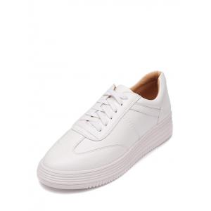 Tie Up PU Leather Athletic Shoes - WHITE 37