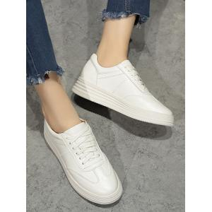 Tie Up PU Leather Athletic Shoes - WHITE 38