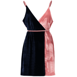 Sleeveless Two Tone Velvet Cami Wrap Dress - BLUE AND PINK ONE SIZE
