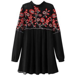 Long Sleeve Embroidered Floral Mini Dress