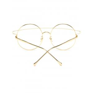 Transparent Lens Alloy Crossover Round Sunglasses - GOLDEN