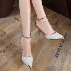 Metal Toe Two Piece Pumps - SILVER 40
