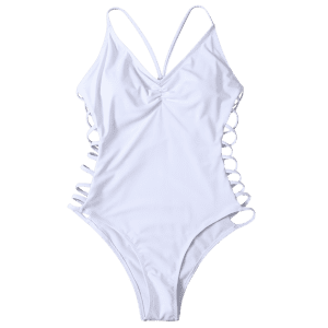 Cami High Cut Cutout One-Piece Swimwear - WHITE L