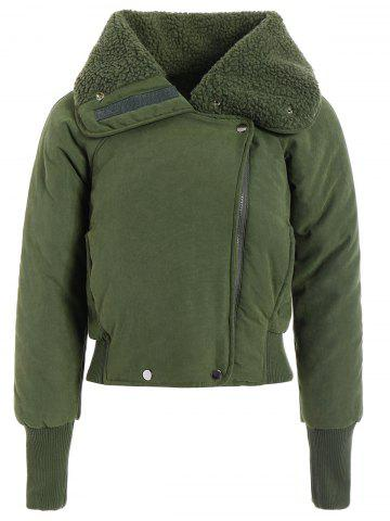Fashion Zip Shearling Panel Cropped Padded Jacket - ONE SIZE ARMY GREEN Mobile