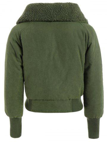 Outfits Zip Shearling Panel Cropped Padded Jacket - ONE SIZE ARMY GREEN Mobile