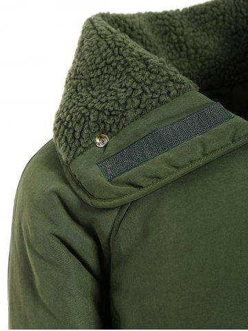 New Zip Shearling Panel Cropped Padded Jacket - ONE SIZE ARMY GREEN Mobile