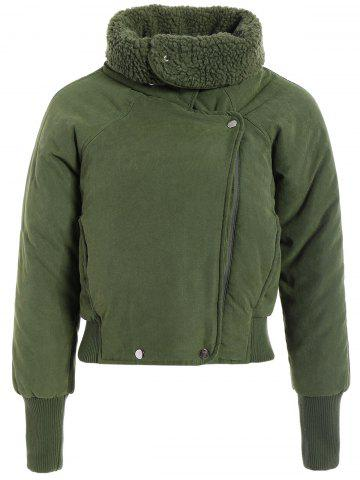 Discount Zip Shearling Panel Cropped Padded Jacket - ONE SIZE ARMY GREEN Mobile