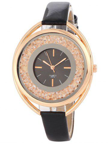 Store Faux Leather Rhinestone Analog Quartz Watch